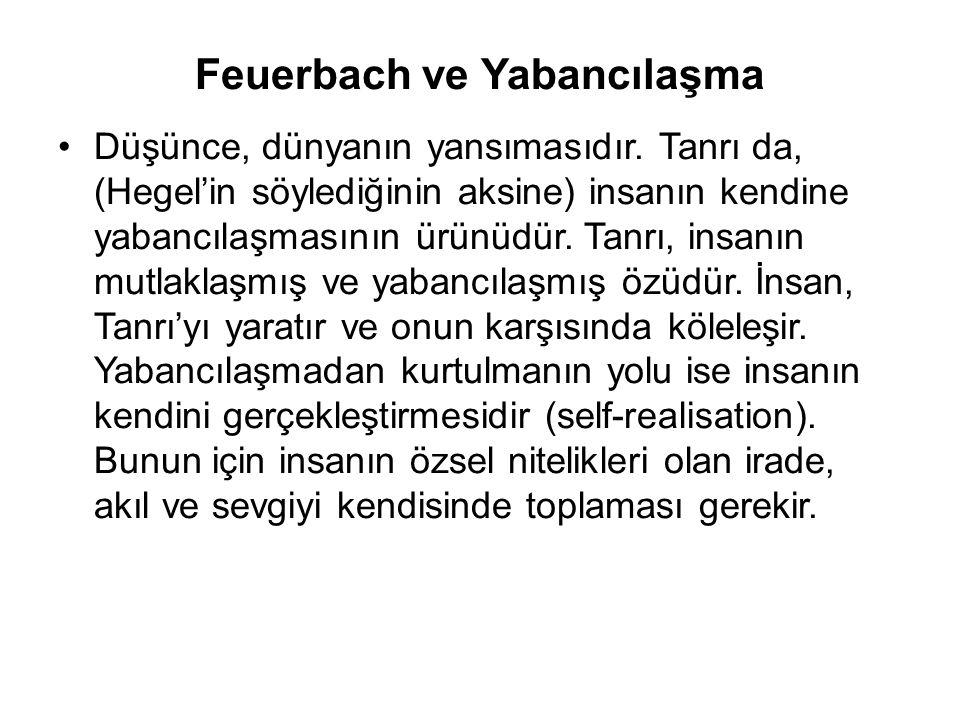 Feuerbach ve Yabancılaşma Düşünce, dünyanın yansımasıdır. Tanrı da, (Hegel'in söylediğinin aksine) insanın kendine yabancılaşmasının ürünüdür. Tanrı,