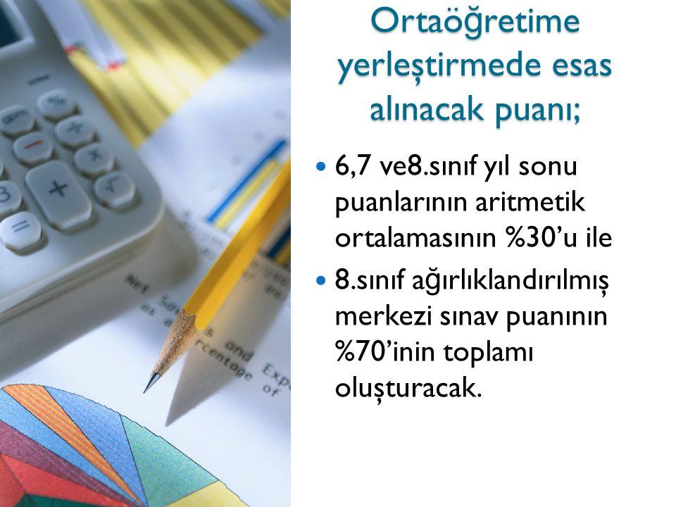 Ortaö ğ retime yerleştirmede esas alınacak puanı; 6,7 ve8.sınıf yıl sonu puanlarının aritmetik ortalamasının %30'u ile 8.sınıf a ğ ırlıklandırılmış merkezi sınav puanının %70'inin toplamı oluşturacak.