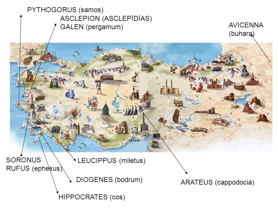 ARATEUS (cappodocia) HIPPOCRATES (cos) ASCLEPION (ASCLEPİDİAS) GALEN (pergamum) SORONUS RUFUS (ephesus) AVICENNA (buhara) PYTHOGORUS (samos) DIOGENES (bodrum) LEUCIPPUS (miletus)