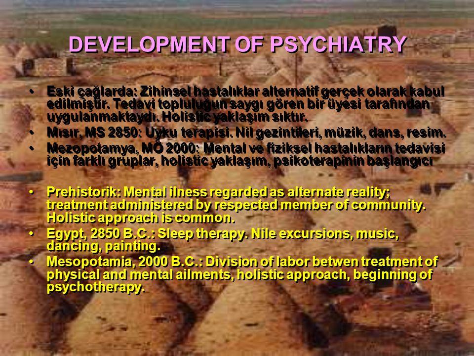 DEVELOPMENT OF PSYCHIATRY Eski çağlarda: Zihinsel hastalıklar alternatif gerçek olarak kabul edilmiştir. Tedavi topluluğun saygı gören bir üyesi taraf