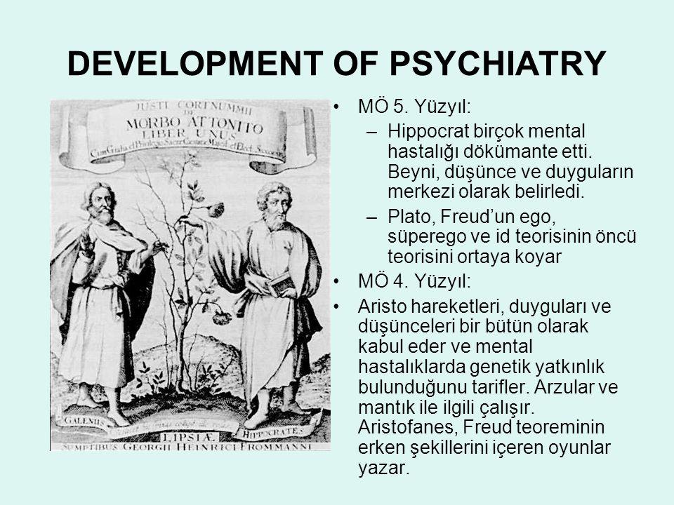 DEVELOPMENT OF PSYCHIATRY MÖ 5. Yüzyıl: –Hippocrat birçok mental hastalığı dökümante etti. Beyni, düşünce ve duyguların merkezi olarak belirledi. –Pla