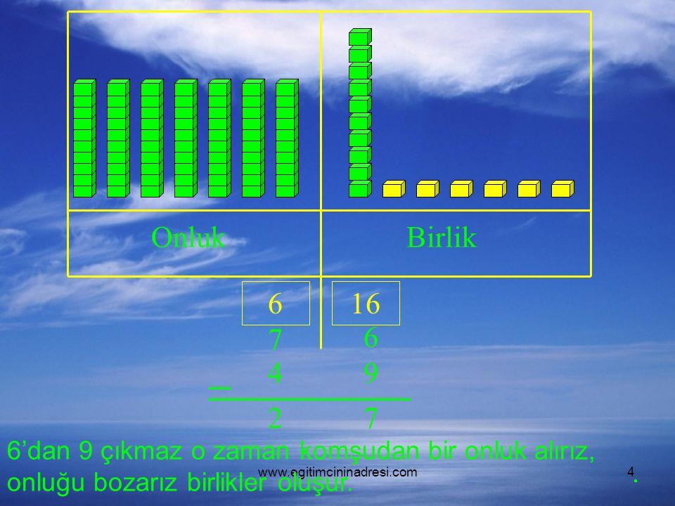 www.egitimcininadresi.com4 OnlukBirlik 7 6 49 6'dan 9 çıkmaz o zaman komşudan bir onluk alırız, onluğu bozarız birlikler oluşur.