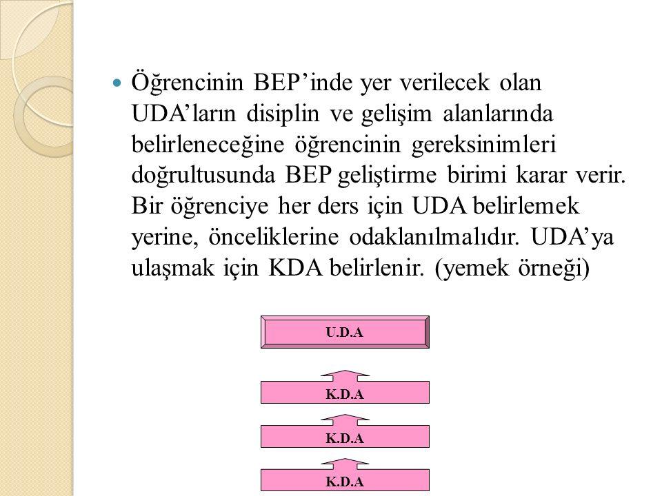 Öğrencinin BEP'inde yer verilecek olan UDA'ların disiplin ve gelişim alanlarında belirleneceğine öğrencinin gereksinimleri doğrultusunda BEP geliştirme birimi karar verir.