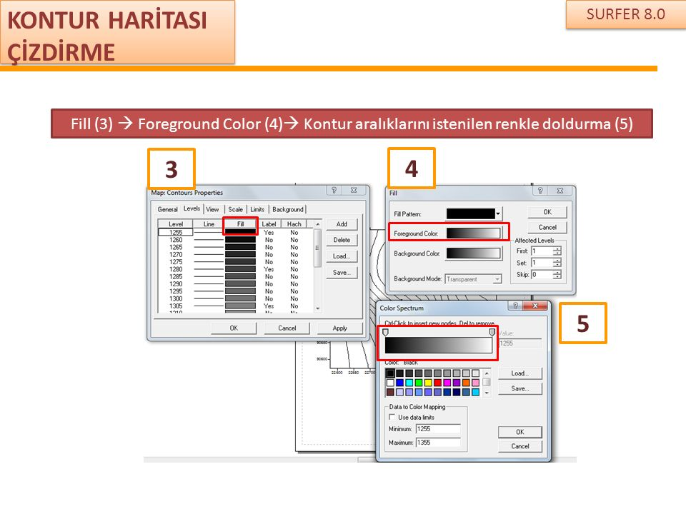 SURFER 8.0 KONTUR HARİTASI ÇİZDİRME Fill (3)  Foreground Color (4)  Kontur aralıklarını istenilen renkle doldurma (5) 3 4 5