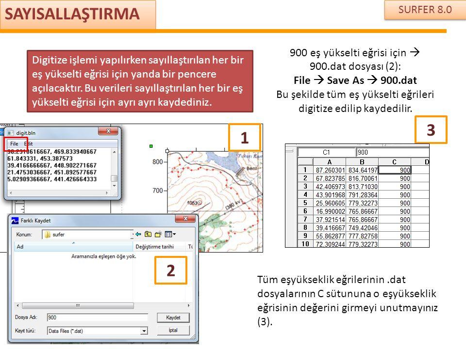 SURFER 8.0 SAYISALLAŞTIRMA Digitize işlemi yapılırken sayıllaştırılan her bir eş yükselti eğrisi için yanda bir pencere açılacaktır. Bu verileri sayıl