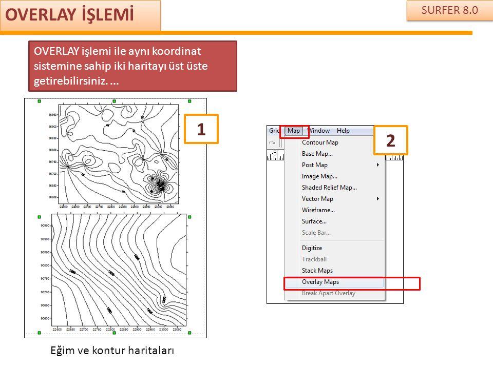 SURFER 8.0 OVERLAY İŞLEMİ OVERLAY işlemi ile aynı koordinat sistemine sahip iki haritayı üst üste getirebilirsiniz.... 1 Eğim ve kontur haritaları 2
