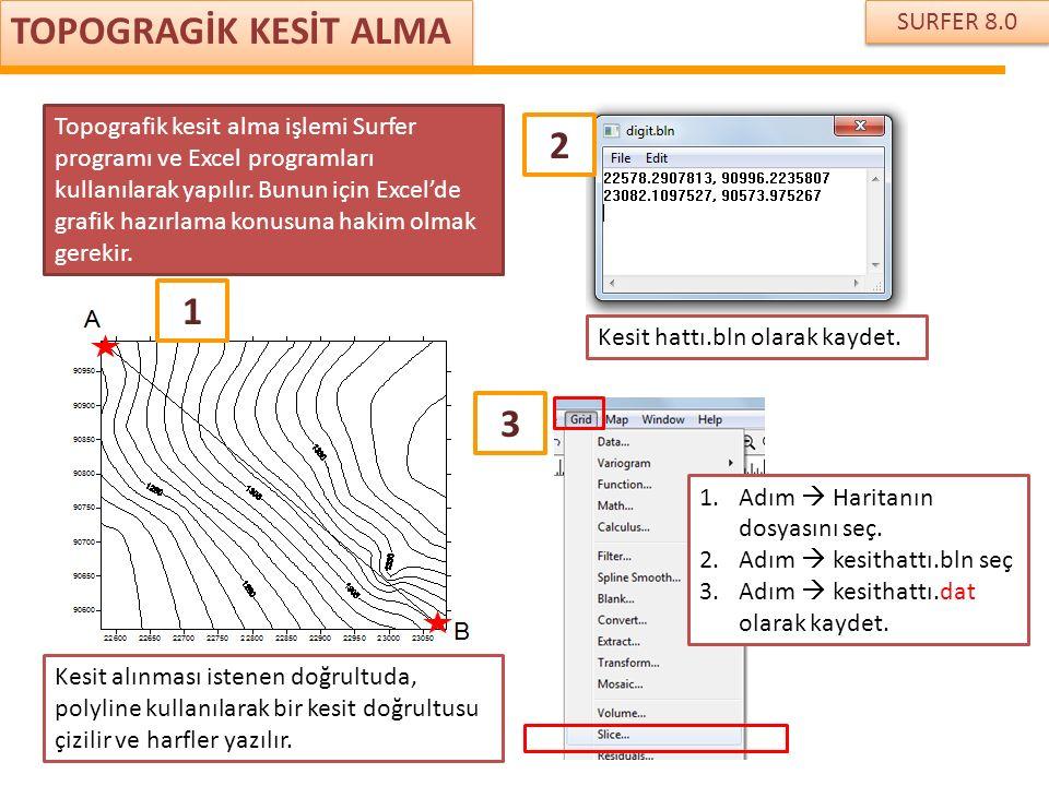SURFER 8.0 TOPOGRAGİK KESİT ALMA Topografik kesit alma işlemi Surfer programı ve Excel programları kullanılarak yapılır. Bunun için Excel'de grafik ha