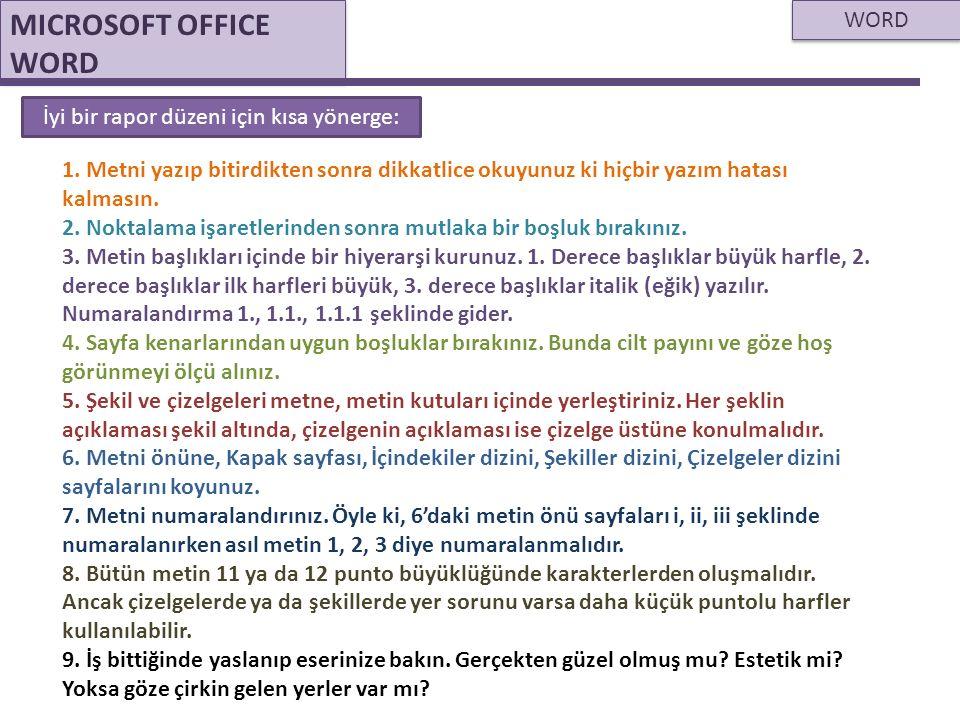 WORD MICROSOFT OFFICE WORD İyi bir rapor düzeni için kısa yönerge: 1. Metni yazıp bitirdikten sonra dikkatlice okuyunuz ki hiçbir yazım hatası kalması