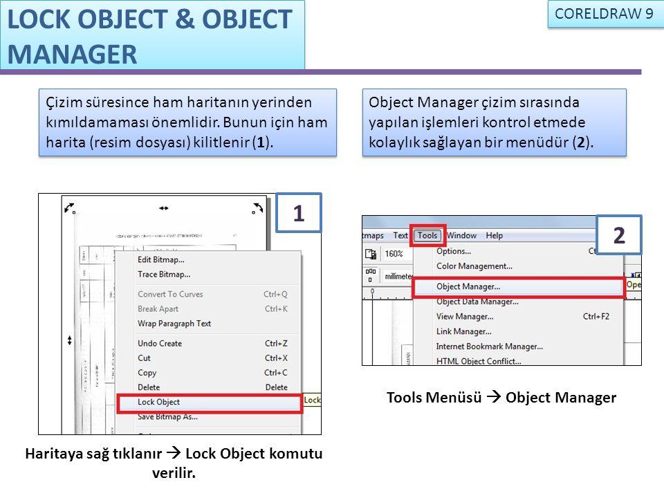 Haritaya sağ tıklanır  Lock Object komutu verilir. Tools Menüsü  Object Manager Çizim süresince ham haritanın yerinden kımıldamaması önemlidir. Bunu