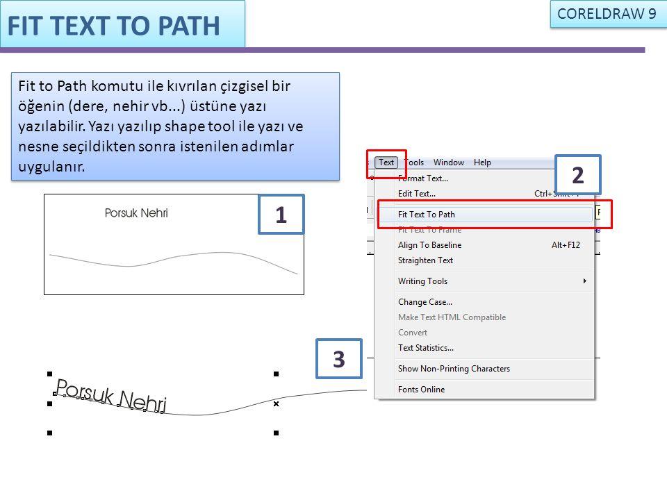 FIT TEXT TO PATH Fit to Path komutu ile kıvrılan çizgisel bir öğenin (dere, nehir vb...) üstüne yazı yazılabilir. Yazı yazılıp shape tool ile yazı ve