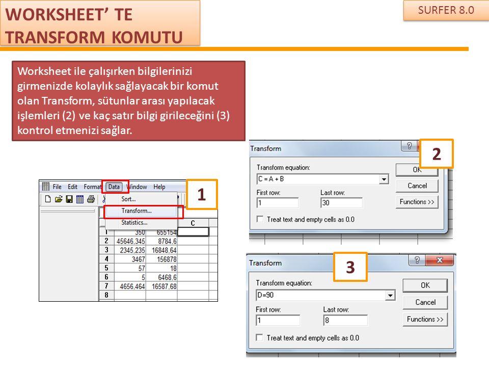 SURFER 8.0 WORKSHEET' TE TRANSFORM KOMUTU Worksheet ile çalışırken bilgilerinizi girmenizde kolaylık sağlayacak bir komut olan Transform, sütunlar ara