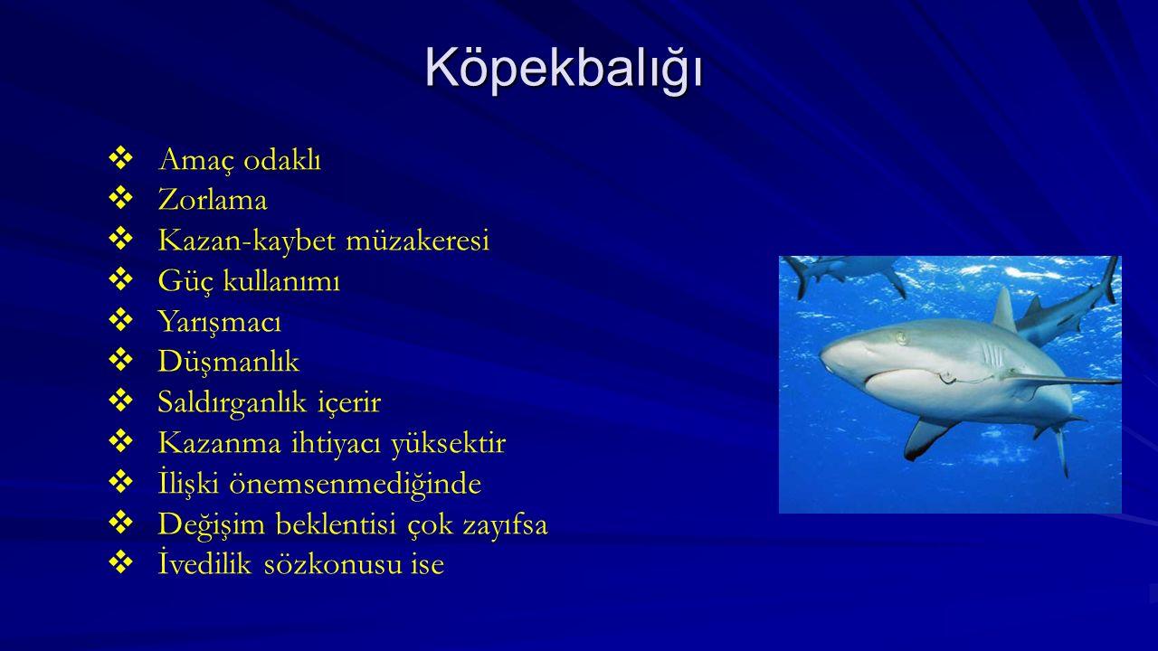 Köpekbalığı  Amaç odaklı  Zorlama  Kazan-kaybet müzakeresi  Güç kullanımı  Yarışmacı  Düşmanlık  Saldırganlık içerir  Kazanma ihtiyacı yüksekt