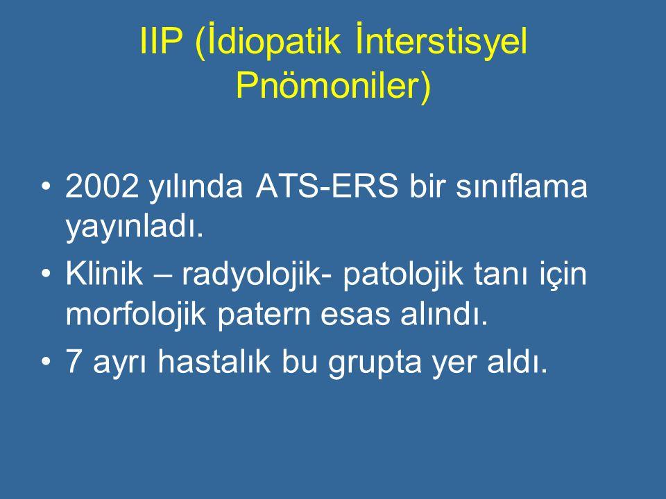 IIP (İdiopatik İnterstisyel Pnömoniler) 2002 yılında ATS-ERS bir sınıflama yayınladı. Klinik – radyolojik- patolojik tanı için morfolojik patern esas