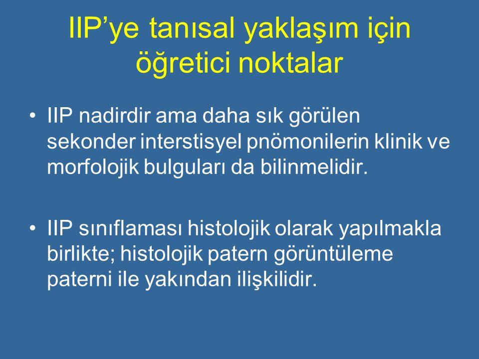 IIP'ye tanısal yaklaşım için öğretici noktalar IIP nadirdir ama daha sık görülen sekonder interstisyel pnömonilerin klinik ve morfolojik bulguları da