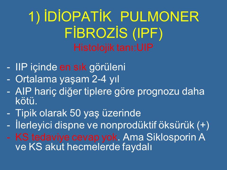 1) İDİOPATİK PULMONER FİBROZİS (IPF) Histolojik tanı:UIP -IIP içinde en sık görüleni -Ortalama yaşam 2-4 yıl -AIP hariç diğer tiplere göre prognozu da
