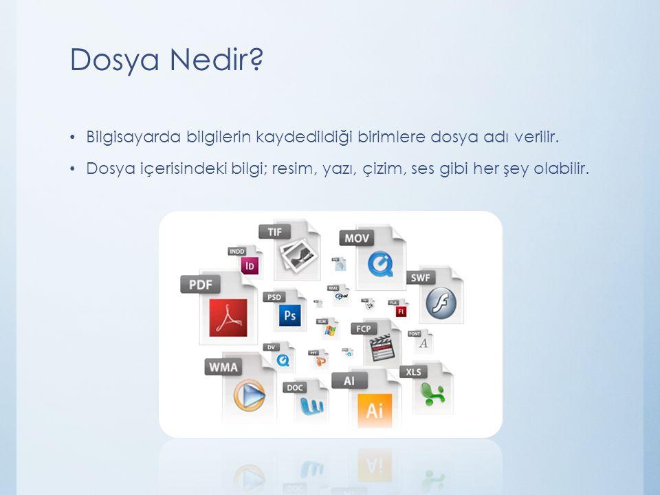 Dosya Nedir? Bilgisayarda bilgilerin kaydedildiği birimlere dosya adı verilir. Dosya içerisindeki bilgi; resim, yazı, çizim, ses gibi her şey olabilir