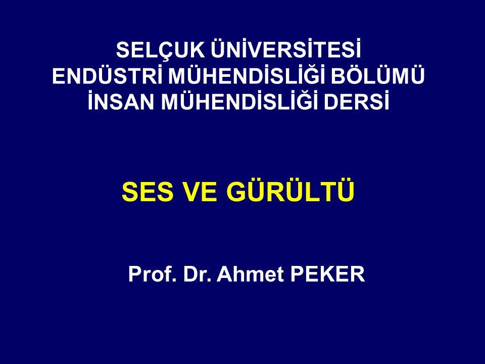 SELÇUK ÜNİVERSİTESİ ENDÜSTRİ MÜHENDİSLİĞİ BÖLÜMÜ İNSAN MÜHENDİSLİĞİ DERSİ SES VE GÜRÜLTÜ Prof. Dr. Ahmet PEKER
