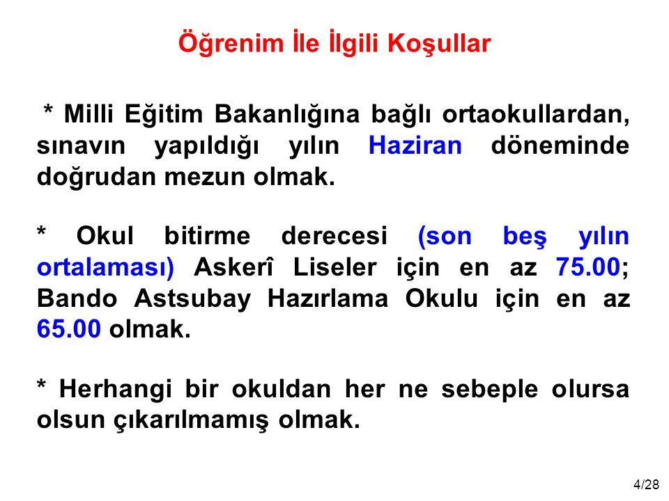 5/28 * Türk Silahlı Kuvvetleri Sağlık Yeterliliği Yönetmeliğinin öğrenci adaylarına ilişkin sağlık niteliklerine sahip olmak.