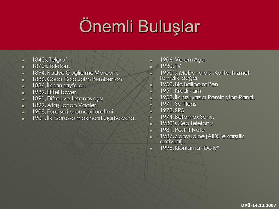 DPÜ-14.12.2007 Önemli Buluşlar  1840s, Telgraf.  1870s, Telefon.