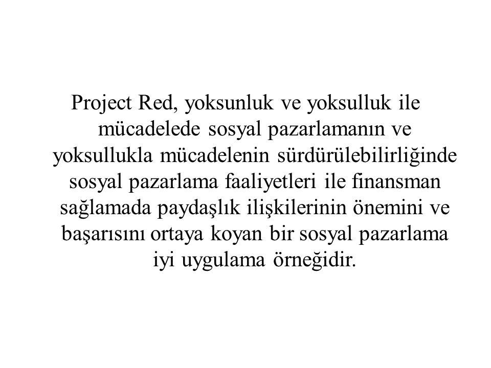 Project Red, yoksunluk ve yoksulluk ile mücadelede sosyal pazarlamanın ve yoksullukla mücadelenin sürdürülebilirliğinde sosyal pazarlama faaliyetleri