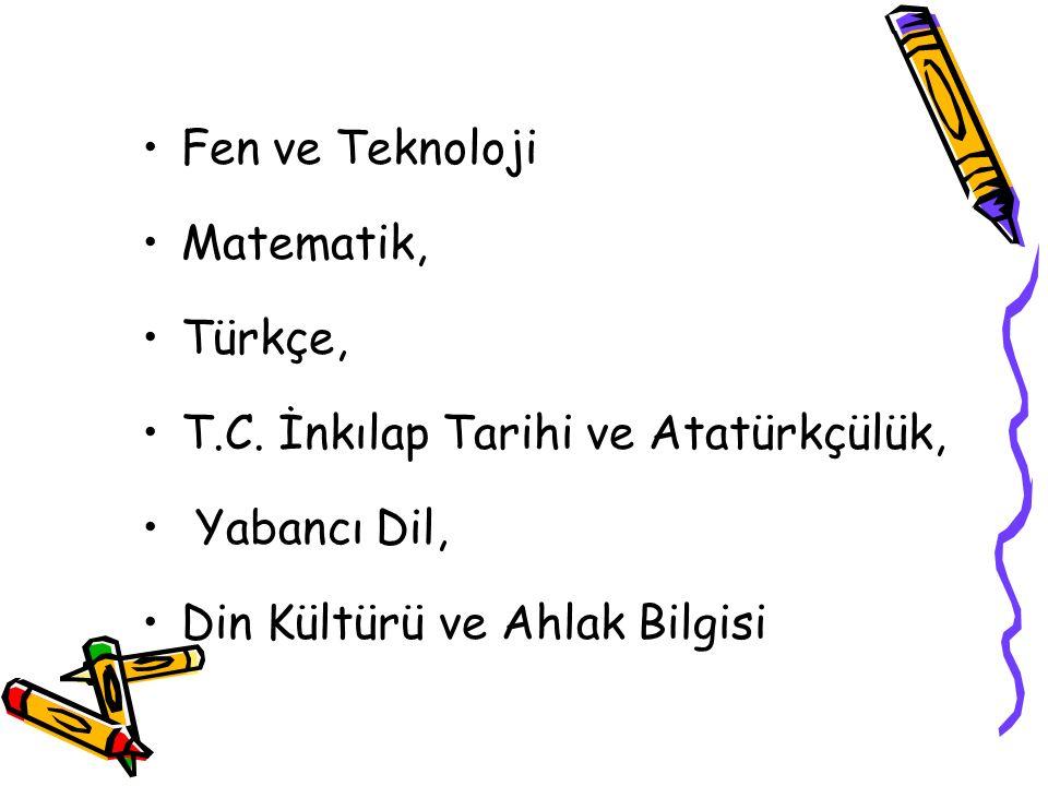 Fen ve Teknoloji Matematik, Türkçe, T.C.