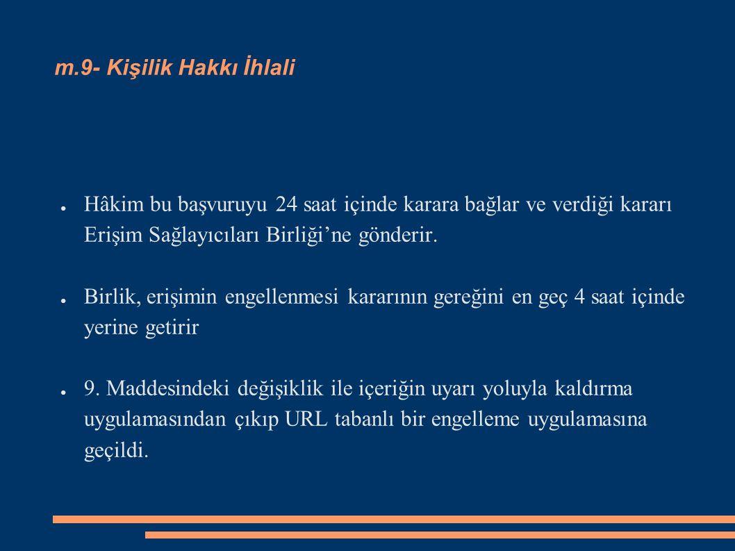 m.9- Kişilik Hakkı İhlali ● Hâkim bu başvuruyu 24 saat içinde karara bağlar ve verdiği kararı Erişim Sağlayıcıları Birliği'ne gönderir. ● Birlik, eriş