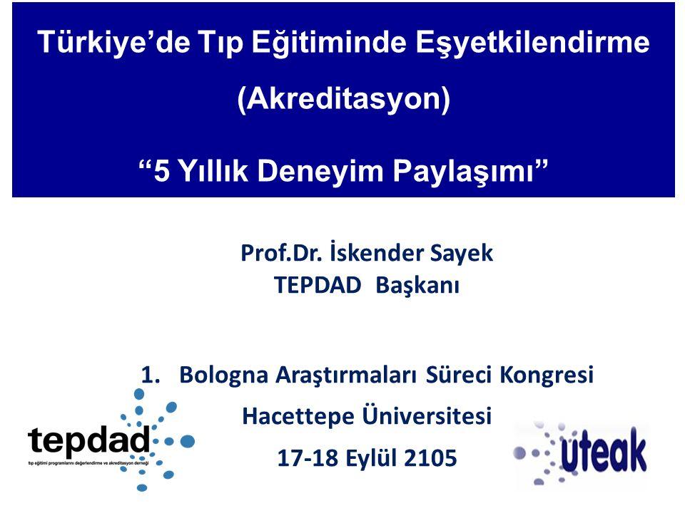 """Türkiye'de Tıp Eğitiminde Eşyetkilendirme (Akreditasyon) """"5 Yıllık Deneyim Paylaşımı"""" Prof.Dr. İskender Sayek TEPDAD Başkanı 1.Bologna Araştırmaları S"""