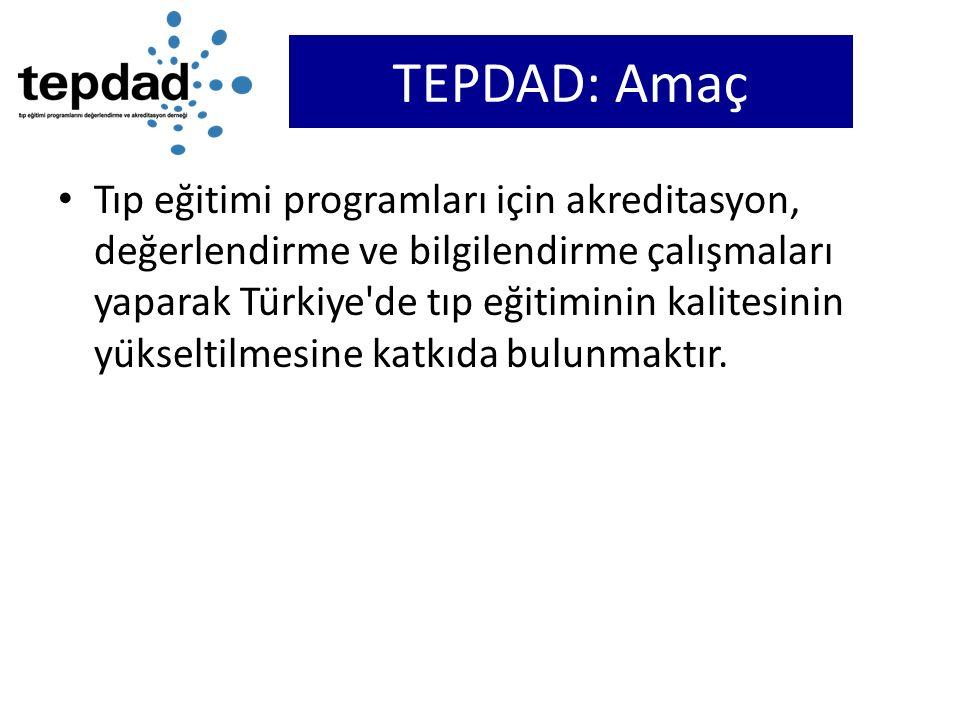 TEPDAD: Amaç Tıp eğitimi programları için akreditasyon, değerlendirme ve bilgilendirme çalışmaları yaparak Türkiye'de tıp eğitiminin kalitesini