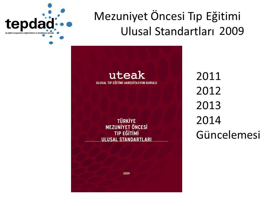 Mezuniyet Öncesi Tıp Eğitimi Ulusal Standartları 2011 2012 2013 2014 Güncelemesi 2009