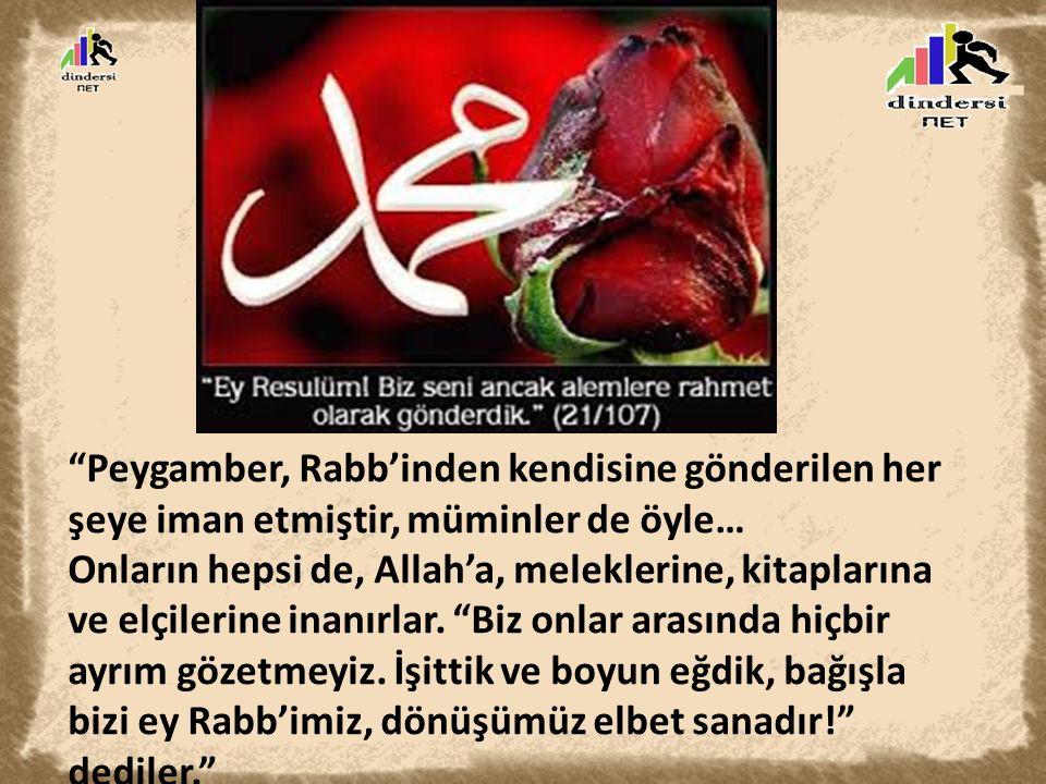 """""""Peygamber, Rabb'inden kendisine gönderilen her şeye iman etmiştir, müminler de öyle… Onların hepsi de, Allah'a, meleklerine, kitaplarına ve elçilerin"""