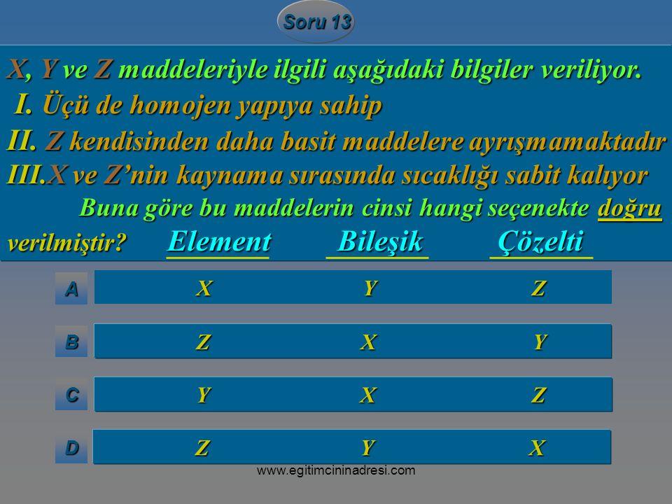 AAAA BBBB CCCC DDDD Soru 13 X Y Z X Y Z Z X Y Z X Y Y X Z Y X Z Z Y X Z Y X X, Y ve Z maddeleriyle ilgili aşağıdaki bilgiler veriliyor. I. Üçü de homo