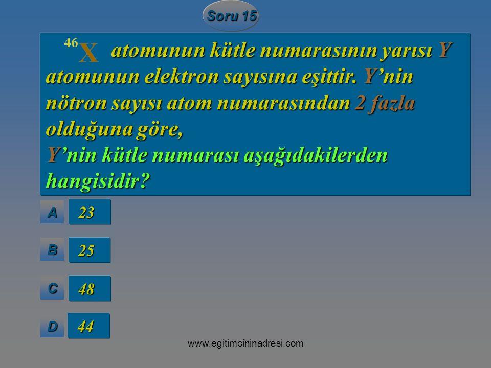 AAAA BBBB CCCC DDDD Soru 15 23 23 25 25 48 48 44 44 atomunun kütle numarasının yarısı Y atomunun elektron sayısına eşittir. Y'nin nötron sayısı atom n