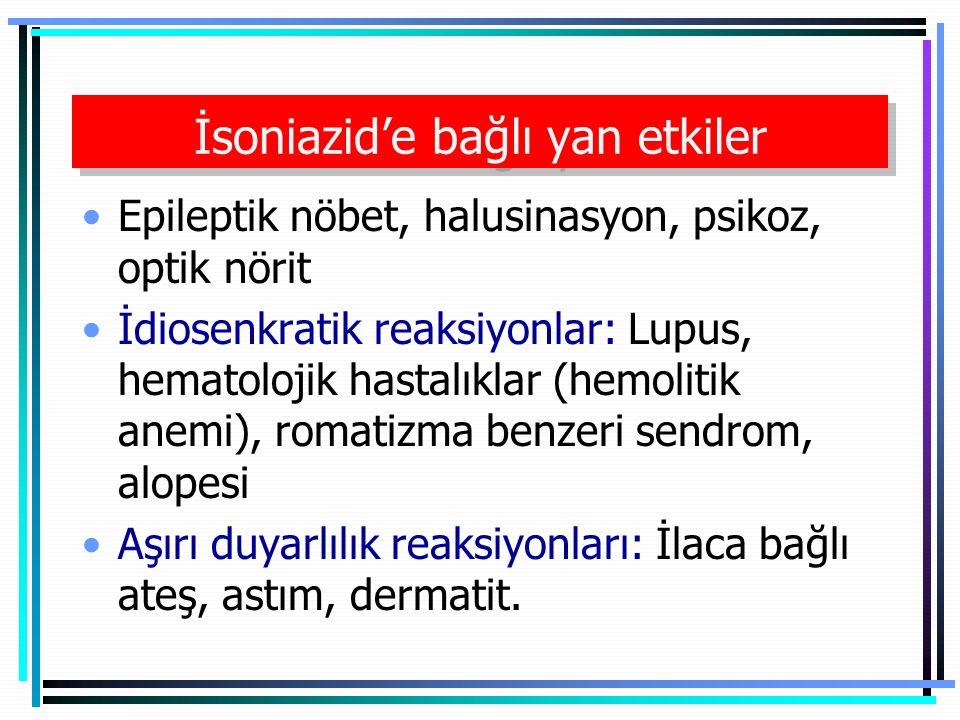 İsoniazid'e bağlı yan etkiler Epileptik nöbet, halusinasyon, psikoz, optik nörit İdiosenkratik reaksiyonlar: Lupus, hematolojik hastalıklar (hemolitik