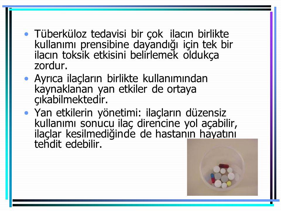 İkinci sıra ilaçlarla sık karşılaşılan yan etkiler Mide-barsak yakınmaları (PAS,ETH) İşitme kaybı (KM,AMK) Psikotik reaksiyon-depresyon (CS) Konvülsiyon(CS) Hepatotoksisite(ETH,PAS) Artralji(Kinolonlar) Periferik nöropati(CS) Hipotiroidi(PAS,ETH) Deride renk değişikliği(Klofazimin) Elektrolit bozuklukları(CM,AMK,KM)