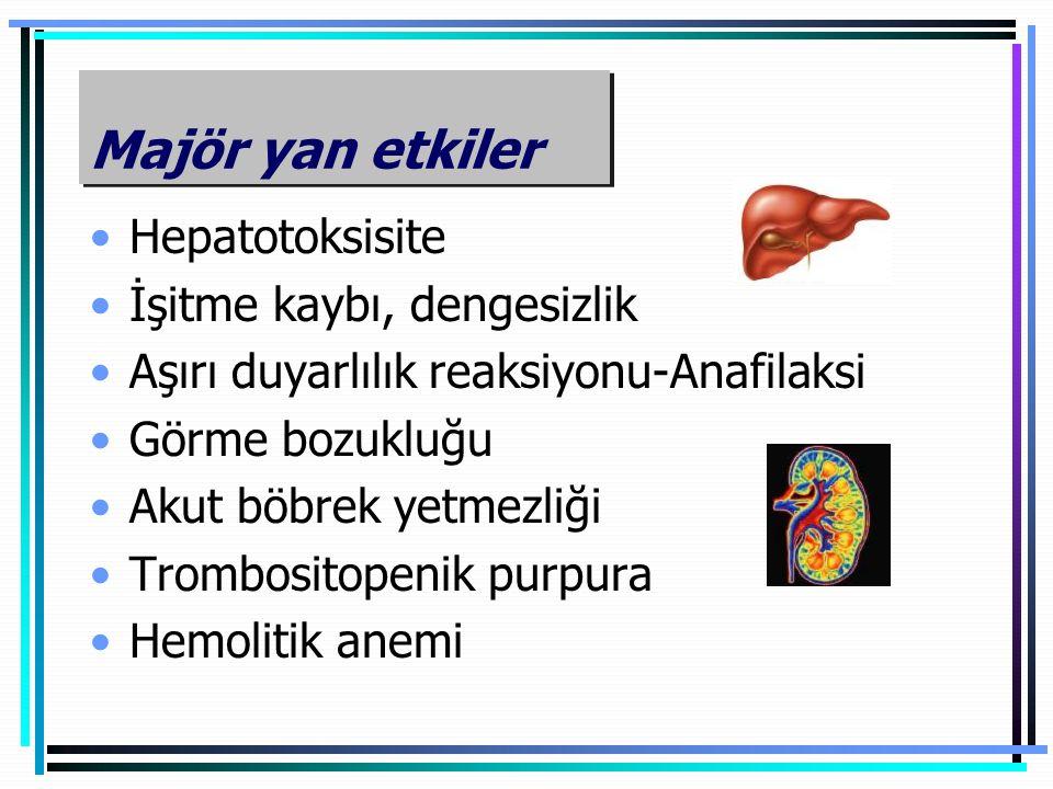 Majör yan etkiler Hepatotoksisite İşitme kaybı, dengesizlik Aşırı duyarlılık reaksiyonu-Anafilaksi Görme bozukluğu Akut böbrek yetmezliği Trombositope