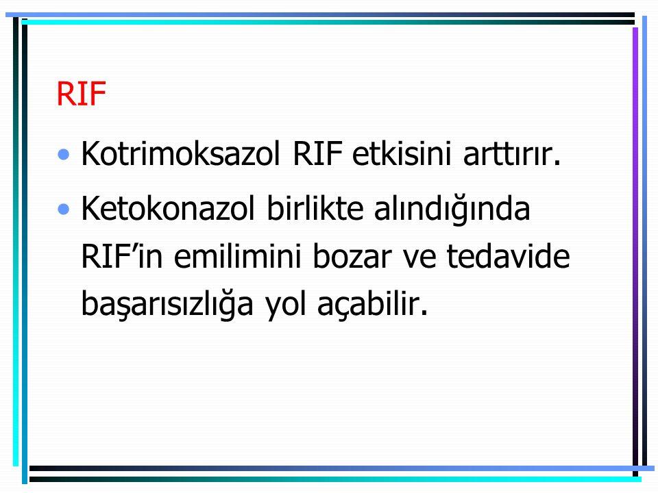 RIF Kotrimoksazol RIF etkisini arttırır. Ketokonazol birlikte alındığında RIF'in emilimini bozar ve tedavide başarısızlığa yol açabilir.