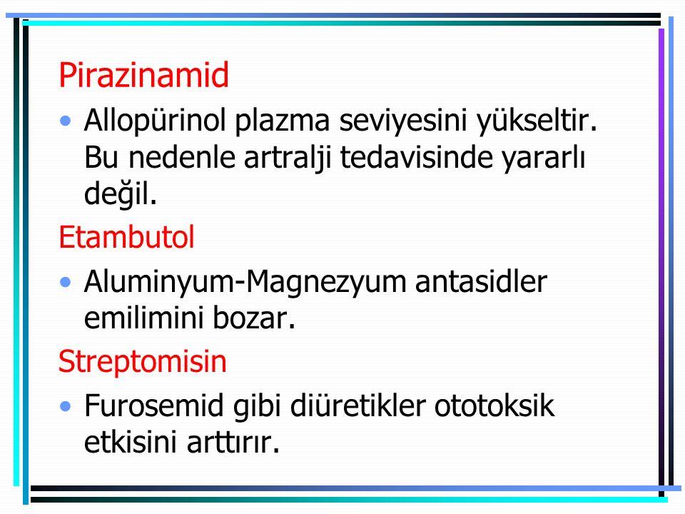 Pirazinamid Allopürinol plazma seviyesini yükseltir. Bu nedenle artralji tedavisinde yararlı değil. Etambutol Aluminyum-Magnezyum antasidler emilimini
