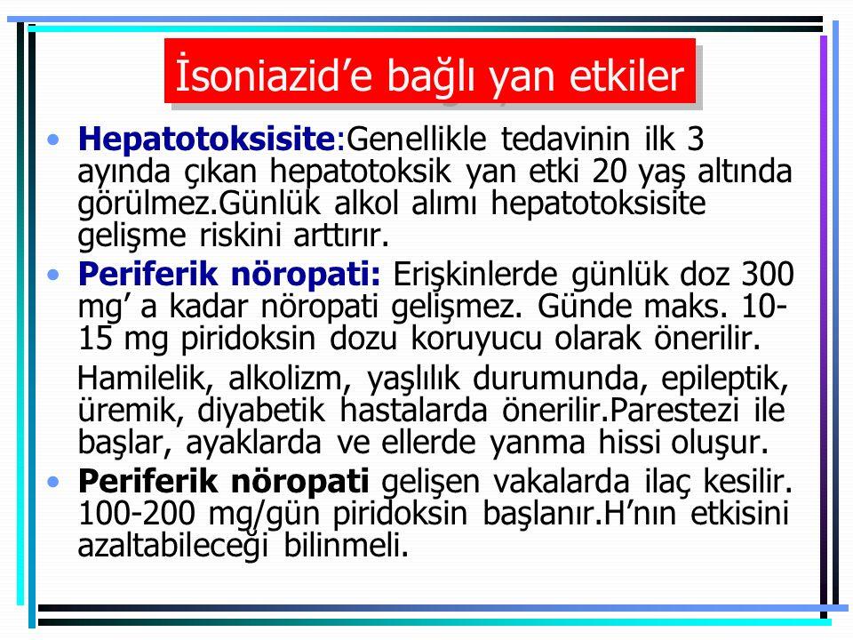 İsoniazid'e bağlı yan etkiler Hepatotoksisite:Genellikle tedavinin ilk 3 ayında çıkan hepatotoksik yan etki 20 yaş altında görülmez.Günlük alkol alımı