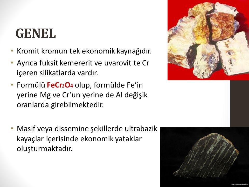 GENEL Kromit kromun tek ekonomik kaynağıdır. Ayrıca fuksit kemererit ve uvarovit te Cr içeren silikatlarda vardır. Formülü FeCr 2 O 4 olup, formülde F