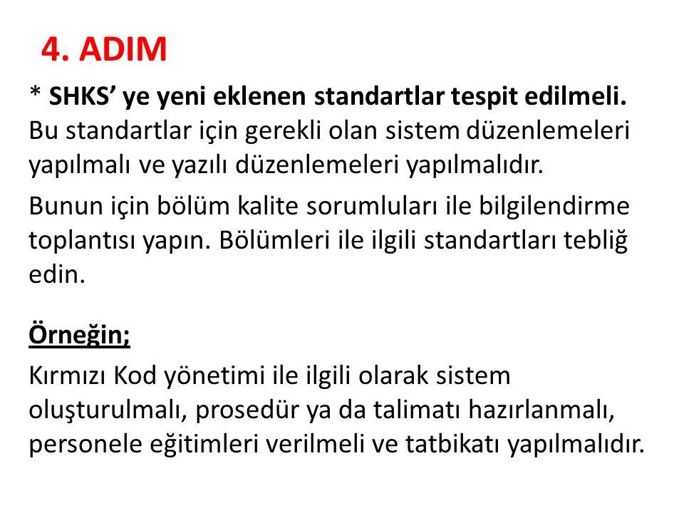 4. ADIM * SHKS' ye yeni eklenen standartlar tespit edilmeli. Bu standartlar için gerekli olan sistem düzenlemeleri yapılmalı ve yazılı düzenlemeleri y