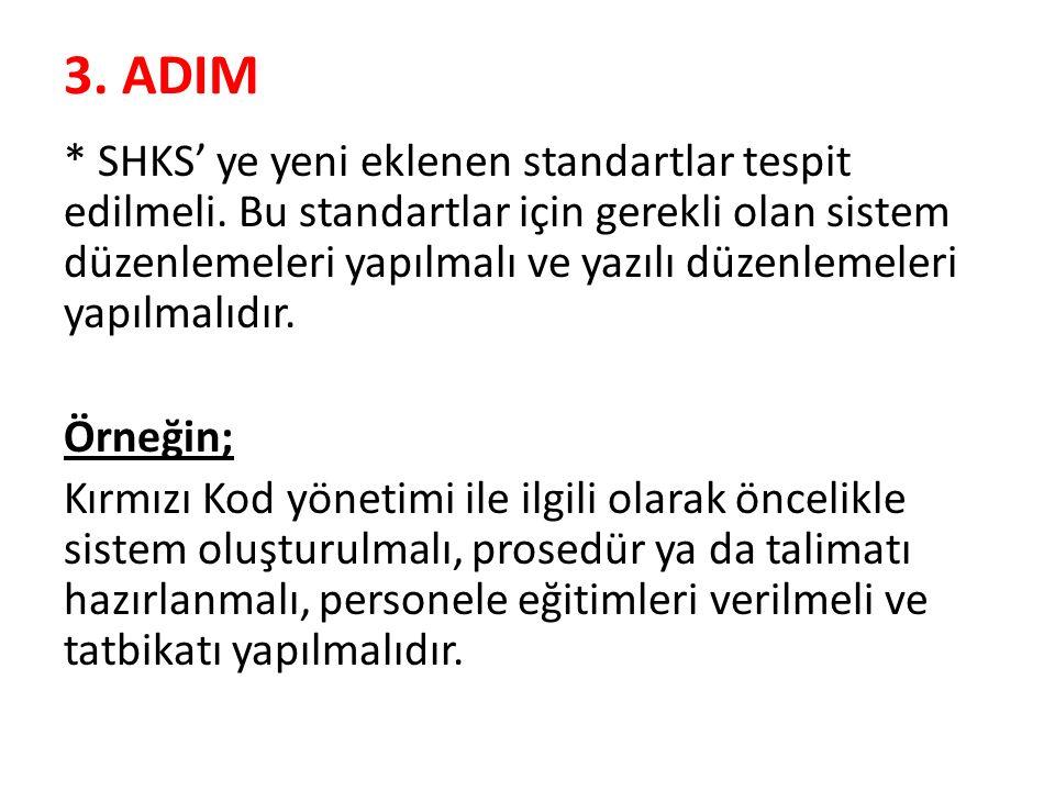 3. ADIM * SHKS' ye yeni eklenen standartlar tespit edilmeli. Bu standartlar için gerekli olan sistem düzenlemeleri yapılmalı ve yazılı düzenlemeleri y
