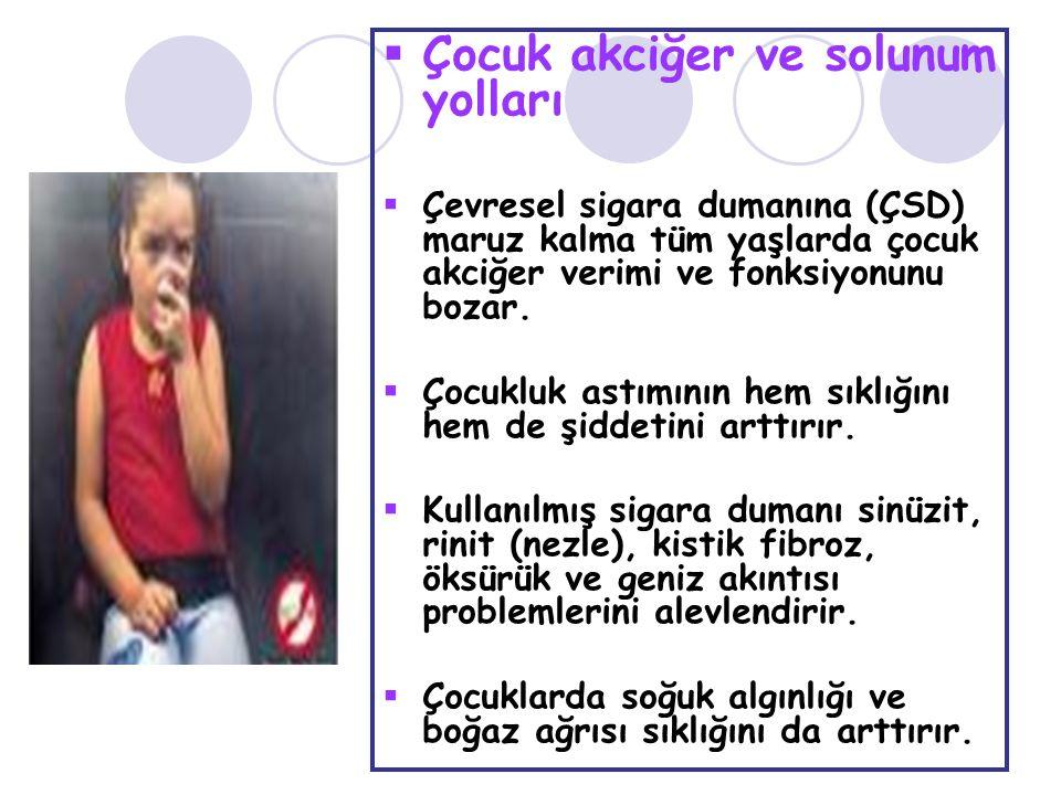  Çocuk akciğer ve solunum yolları  Çevresel sigara dumanına (ÇSD) maruz kalma tüm yaşlarda çocuk akciğer verimi ve fonksiyonunu bozar.  Çocukluk as