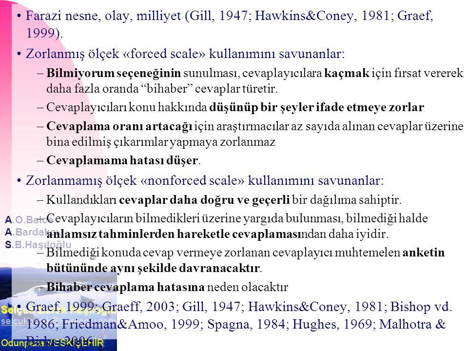 Selçuk Burak Haşıloğlu selcukburak@hasiloglu.com Odunpazarı/ ESKİŞEHİR A.O.Balce A.Bardakcı S.B.Haşıloğlu Farazi nesne, olay, milliyet (Gill, 1947; Hawkins&Coney, 1981; Graef, 1999).