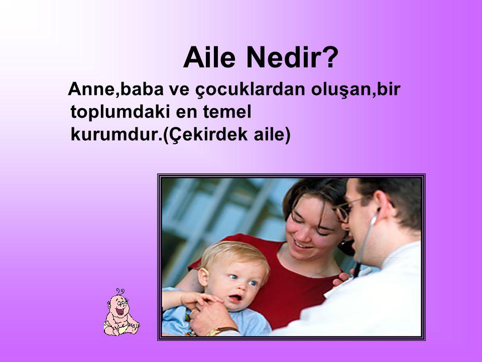 Aile Nedir? Anne,baba ve çocuklardan oluşan,bir toplumdaki en temel kurumdur.(Çekirdek aile)
