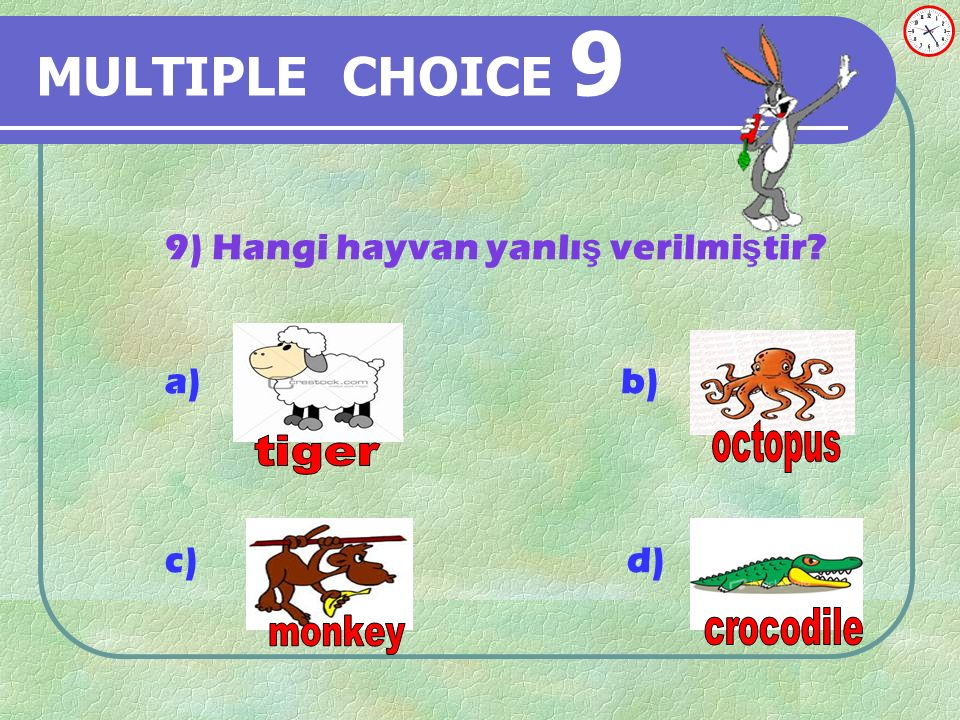 MULTIPLE CHOICE 8 8) It is………………. a) winter b) summer c) spring d)fall