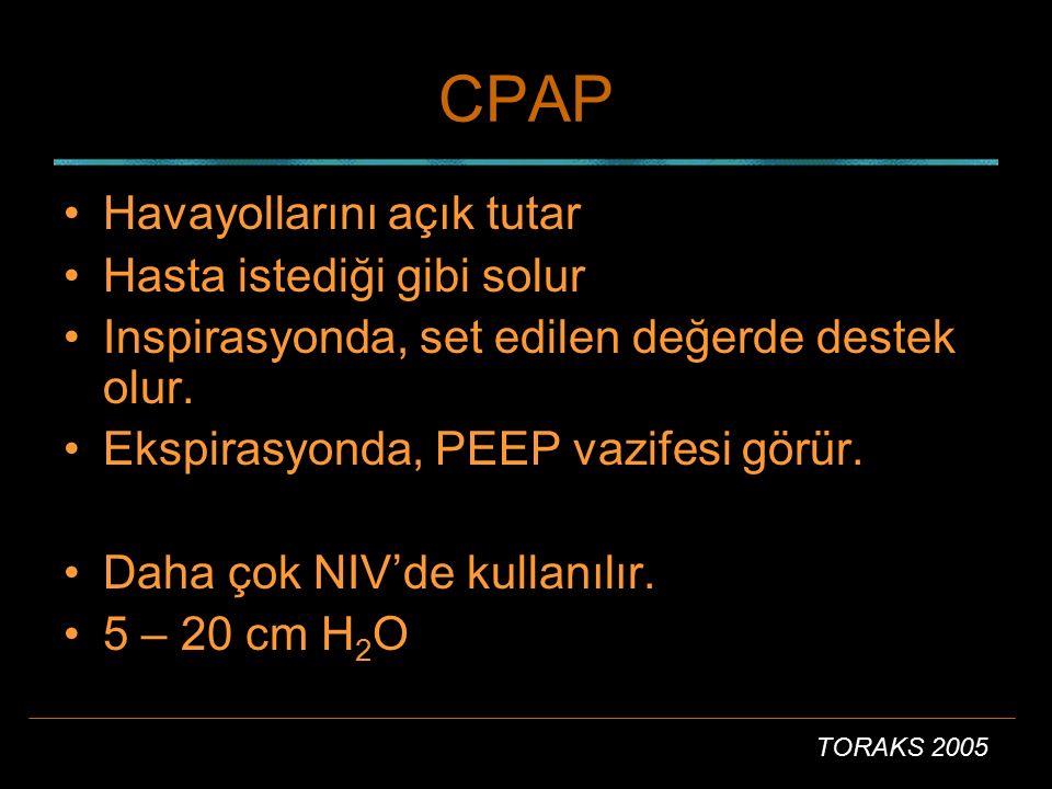 TORAKS 2005 CPAP Havayollarını açık tutar Hasta istediği gibi solur Inspirasyonda, set edilen değerde destek olur. Ekspirasyonda, PEEP vazifesi görür.