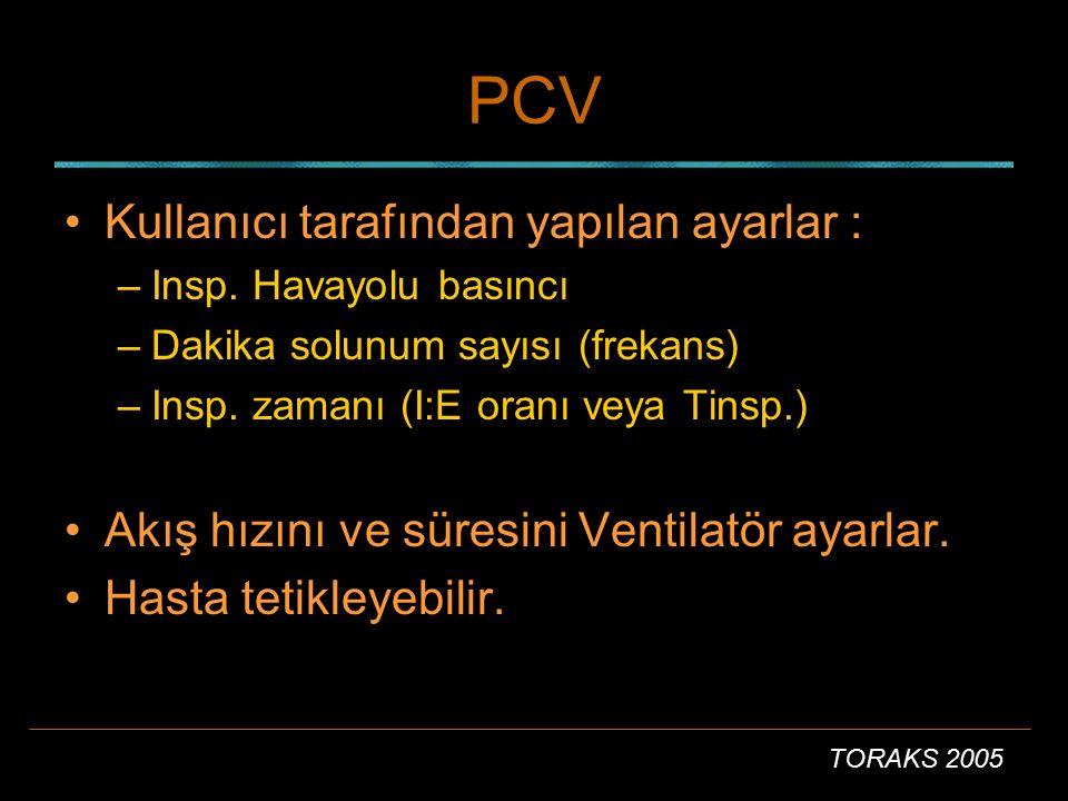 TORAKS 2005 PCV Kullanıcı tarafından yapılan ayarlar : –Insp. Havayolu basıncı –Dakika solunum sayısı (frekans) –Insp. zamanı (I:E oranı veya Tinsp.)