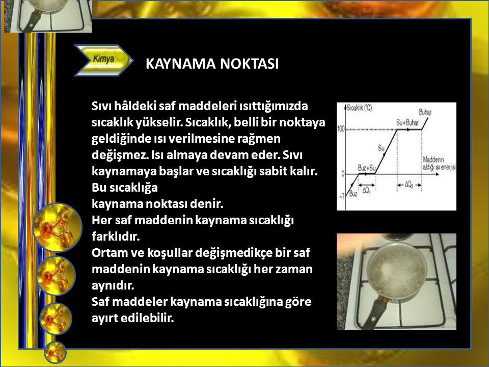 05372859273 KAYNAMA NOKTASI Sıvı hâldeki saf maddeleri ısıttığımızda sıcaklık yükselir.