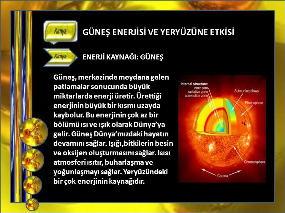 05372859273 GÜNEŞ ENERJİSİ VE YERYÜZÜNE ETKİSİ ENERJİ KAYNAĞI: GÜNEŞ Güneş, merkezinde meydana gelen patlamalar sonucunda büyük miktarlarda enerji üretir.