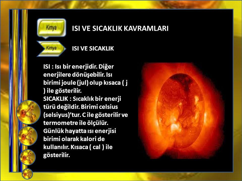 05372859273 ISI VE SICAKLIK KAVRAMLARI ISI : Isı bir enerjidir.